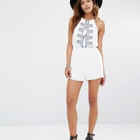 Missguided Cheesecloth Embroidered Playsuit at asos.com