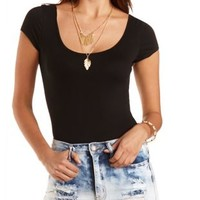 Strappy Back Short Sleeve Bodysuit by Charlotte Russe