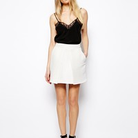 ASOS Mini Skirt in Texture with Fold Front - White