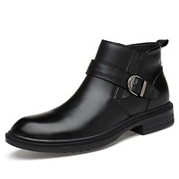 Men's Comfort Shoes Cowhide Fall / Winter Business Boots Mid-Calf Boots Black / Party & Evening / Party & Evening