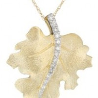 10k Yellow Gold Diamond Leaf Pendant Necklace (1/10 cttw, I-J Color, I2-I3 Clarity)