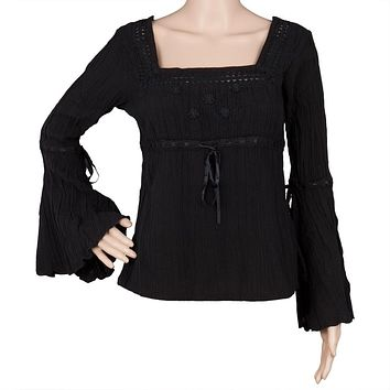 Women's Embroidered Black Gauze Peasant Blouse