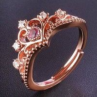 Fashion lady rose gold jewelry simple crown ring birthday gift