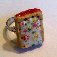 Strawberry Pop-Tart Ring, Polymer Clay Jewelry, Miniature Food