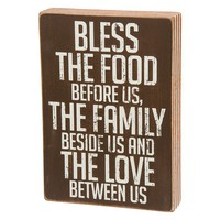 ''Bless The Food'' Wooden Box Sign Art