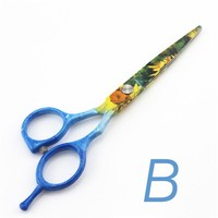 5.5 inch Haircutting Lady Girls Floral Hot Shears Straight Razor Professional Scissors Hair Makas for Women Beauty New Arrival