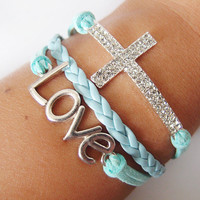 bracelet 2 Rows Of DiamondStudded  Silver Cross by Youthinfinited