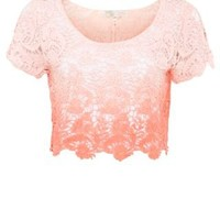 New Look Mobile   Cameo Rose Coral Ombre Crochet Crop Top