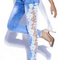Blue Flower Pattern Lace Skinny Jeans