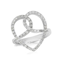 Forzieri Designer Rings Diamond Crossing Heart 18K White Gold Ring