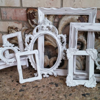 Off White Vintage Frame Collection, Ornate Baroque Frame, Mother Goose, 8 x 10 5 x 7 Ornate Frame Set, Gallery Wall Shabby Chic Frames