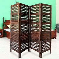 Decorative Four Panel Mango Wood Hinged Room Divider with Circular Cutout Design, Brown