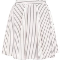 Molly Ribbed Stripe Box Pleat Skater Skirt | Boohoo
