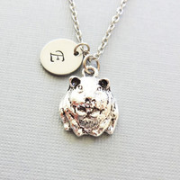 Guinea Pig Necklace, Gopher Charm, Gerbil, Hamster Jewelry, BFF, Friend Gift, Silver Initial, Personalized, Monogram, Hand Stamped Letter