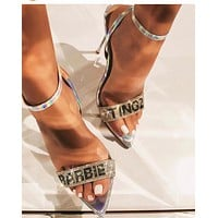 Summer new style letters rhinestone ladies sexy high heel sandals