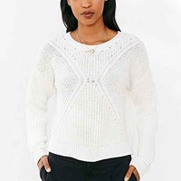 Silence + Noise Cropped Allover Stitch Sweater-