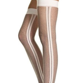 White Opaque Side Stripes Thigh High
