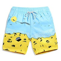Summer Day Men's Sky Blue & Yellow Casual Quick Dry Beach Board Shorts