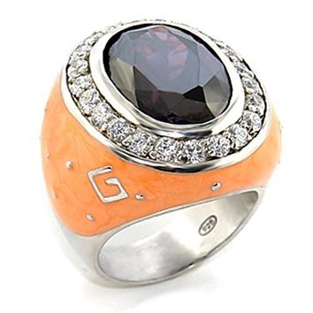 Women's Band Rings 8X019 Rhodium Brass Ring with AAA Grade CZ