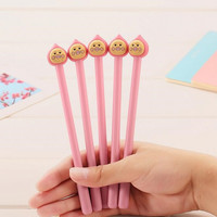 Funny Face Pink Peach Doll Black Gel Pen