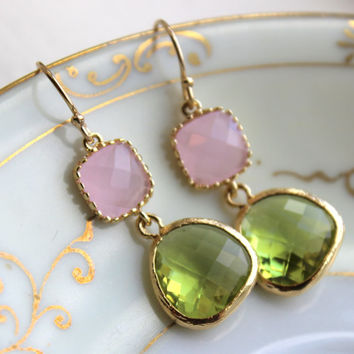 Peridot Earrings Green Pink Opal Gold Plated - Bridesmaid Earrings Wedding Apple Green Light Pink Bridesmaid Jewelry Gift - Gold Accessories