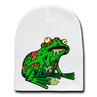 'Zombie Frog' Funny Animal Zombie Cartoon - White Beanie Skull Cap Hat