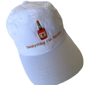 "The ""hennything can happen"" cap in white"