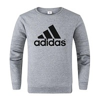 Adidas Autumn And Winter New Fashion Bust Letter Print Leisure Women Men Long Sleeve Sweater Gray