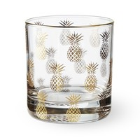Gold Pineapple Double Old-Fashioned Glass