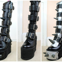 90s Clubkid Cyber Goth Black Leather Chunky Platform Knee Length Transmuters Rubber Spike Panel Transformer Boots UK 3.5 / US 6 / EU 36.5