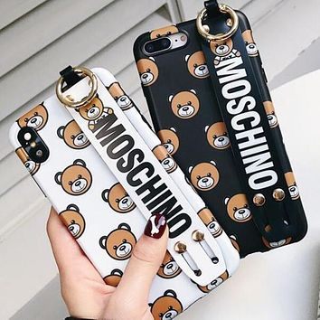Moschino Fashion Couple Cute Teddy Bear Soft Mobile Phone Cover Case For iphone 6 6s 6plus 6s-plus 7 7plus 8 8plus X XR XS XS Max