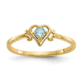 14K Yellow Gold Genuine Blue Topaz December Birthstone Heart Ring
