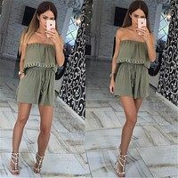 Strapless Crop Top Romper