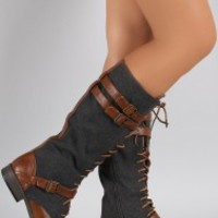 Bamboo Vintage Buckled Lace Up Wool Boots