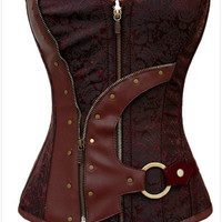 bustiers corsets corselet Women  Brown Brocade Steampunk Corset Top With G-string  sexy lingerie set = 1929484612