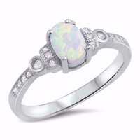 Sterling Silver CZ Lab White Opal Simulated Diamond Oval Center Ring