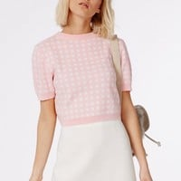 SHORT SLEEVE GINGHAM CROP SWEATER PALE PINK