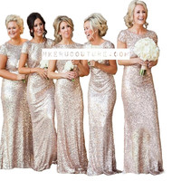 Champagne Gold Long Bridesmaid Dresses Sequined Short Sleeve Floor Length Bridesmaid Dress TT67