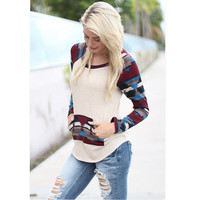 Patchwork With Pocket Tops T-shirts [6338698308]