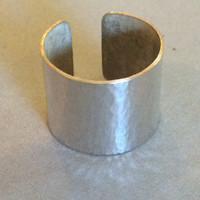 """1"""" Wide Hammered Sterling Silver Ring"""