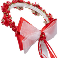 Red Floral Crown Wreath Handmade with Silk Flowers, Satin Ribbons & Bows (Girls)