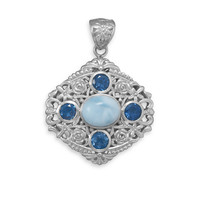 Sterling Silver Ornate Larimar and London Blue Topaz Pendant