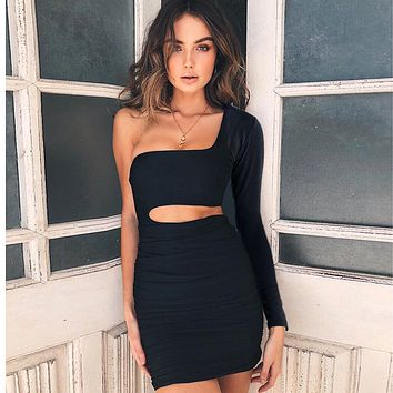 Solid Color Fashion Hollow Single Shoulder Long Sleeve Tight Mini Dress