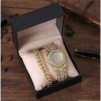 Gold Ice Out Bling Watch and bracelet Stainless Steel