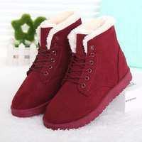 Women Boots 2016 Fashion Warm Snow Boots Ankle Winter Boots For Women Shoes Black Red Plus Size 41 42
