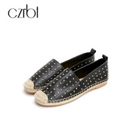 CZRBT Fashion Espadrilles Shoes Women Fisherman Flat Loafers Weaving Sandals Leather Crystal Summer Spring Walking Driving Shoes