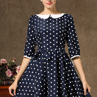 Navy Half Sleeve Polka Dot Pleated Dress - Sheinside.com