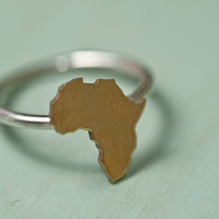 Brass africa and silver ring
