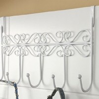 Over The Door 5 Hook Organizer Rack - White