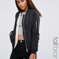 Missguided Tall Lightweight Shearling Lined Bomber Jacket at asos.com